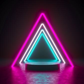 3d render weergave ongeometrie vorm podium met neon muur voor product.