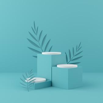 3d render weergave onpastel geometrie vorm podium en muur.