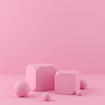 3d render weergave op roze kleur podium en muur voor product