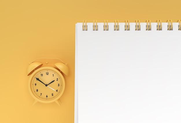3d render wekker met notebook mock-up met schone blanco voor ontwerp a