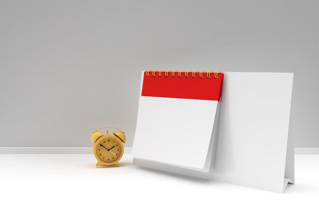 3d render wekker met notebook mock-up met schone blanco voor ontwerp en reclame, 3d illustratie perspectiefweergave.
