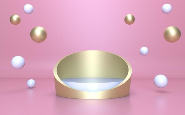 3d render white gold podium voor productweergave met roze achtergrond