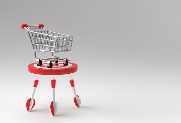 3d render winkelwagen bulls eye verhoog de verkoopdoelstelling met pijl 3d-ontwerp.