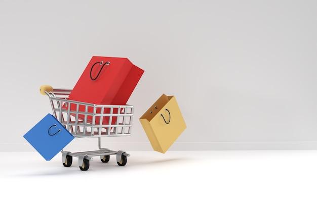 3d render winkelwagen met boodschappentas pictogram afbeelding ontwerp.