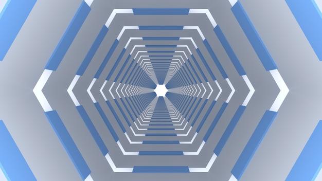 3d render wit blauw zeshoekige tunnel