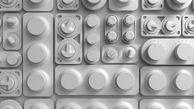 3d render witte abstracte tech achtergrond met willekeurig gedraaide schakelpanelen. verschillende vormen.