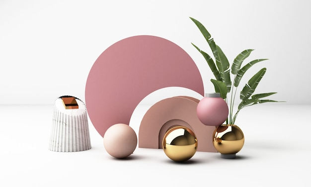 3d render witte achtergrond met geometrische vormen. goud en roze pastelkleur gewoon trendy ontwerp voor promotie of productshow.