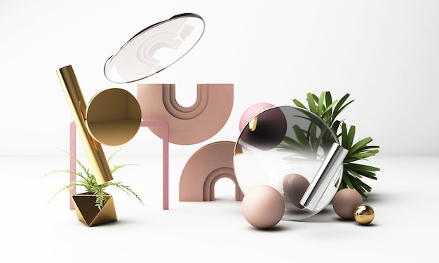3d render witte achtergrond met geometrische vormen. goud en roze pastelkleur zwart glas gewoon trendy ontwerp voor promotie of productshow.