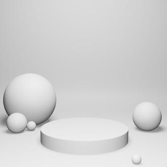 3d render witte bollen en podium op witte achtergrond