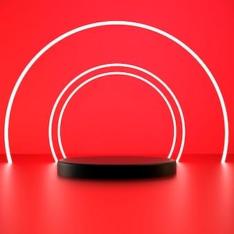 3d render witte cirkel met zwart voetstuk op rode achtergrond premium foto