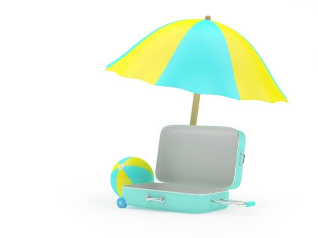 3d render witte en blauwe parasol en strand stier en blauwe koffer geïsoleerd op een witte background