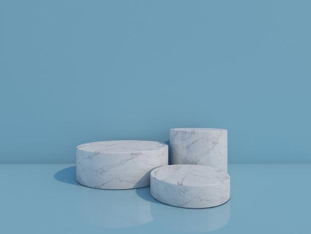 3d render witte marmeren podia geïsoleerd op blauwe achtergrond