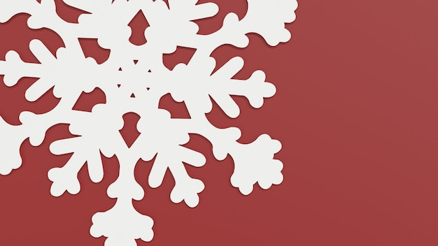 3d render witte sneeuwvlok op rode achtergrond