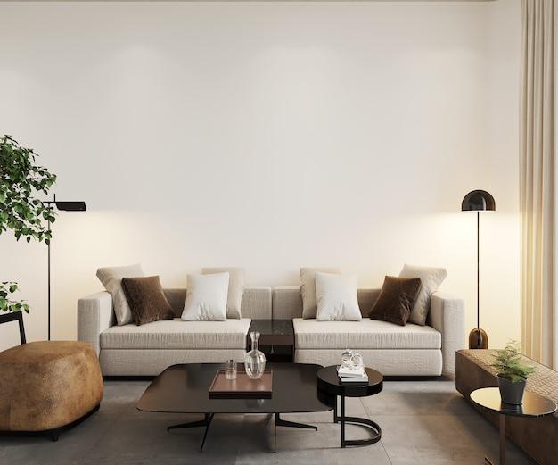 3d render, woonkamer interieur, muur mockup, frame mockup