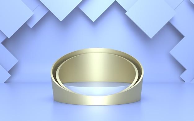 3d render zacht blauw gouden cilinderpodium voor productweergave met geometrische abstracte achtergrond