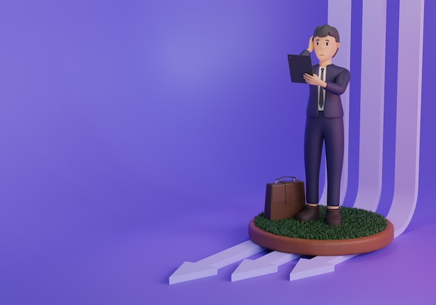 3d render zakenman ilustration op paarse achtergrond met pijlen
