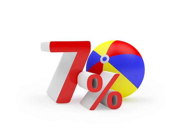 3d render zeventig procent rode tekst met kleurrijke strandbal als de nul geïsoleerd op een witte achtergrond