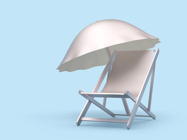 3d render zilveren ligstoel en parasol geïsoleerd op lichtblauwe background