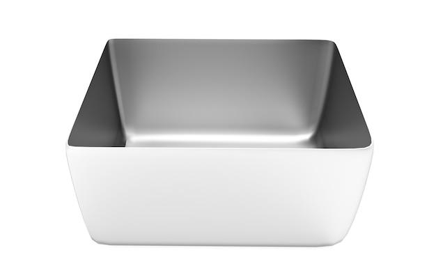 3d render zilveren vierkante blikverpakking. thee, koffie, droge producten, mock-up