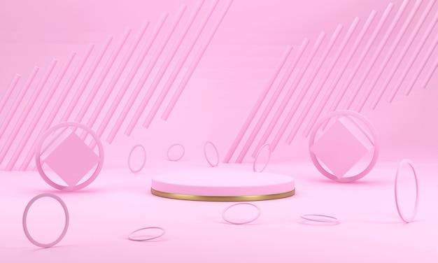 3d render zoet roze podium er zijn ringen rond met een ronde pilaar op de achtergrond