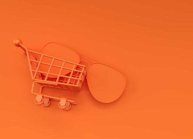 3d render zonnebril in het winkelwagentje afbeelding ontwerp.