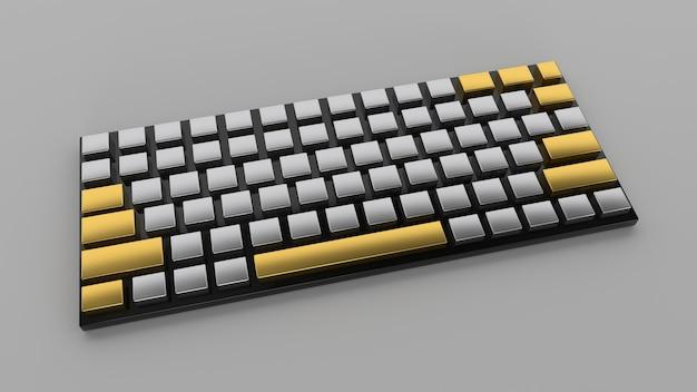 3d render zwart goud toetsenbord