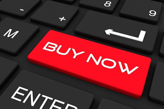 3d render. zwart toetsenbord met koop nu-toets in rode kleur, bedrijfs- en technologie concept achtergrond