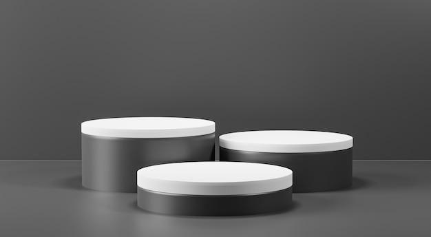 3d render zwart-wit podia op zwarte achtergrond