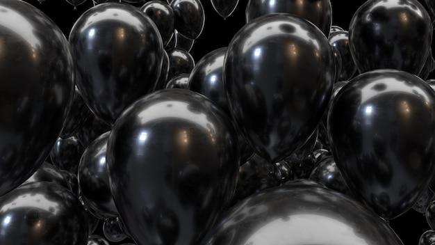 3d render zwarte ballonnen op een zwarte achtergrond