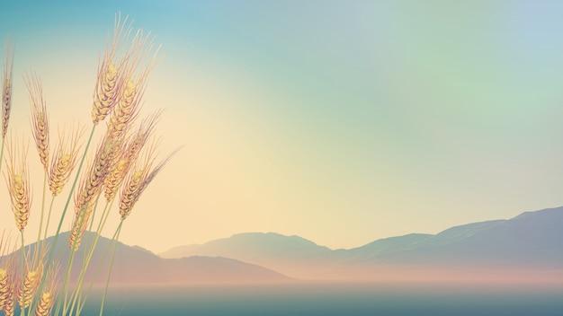 3d renderen van tarwe met heuvels in de verte met retro-effect