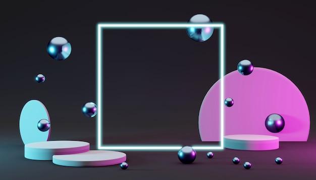 3d renderi-podia met vierkante lichte geometrie-elementen voor commerciële sjabloon op donkere achtergrond