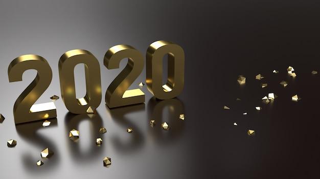3d-rendering 2020 gouden nummer voor het nieuwe jaar
