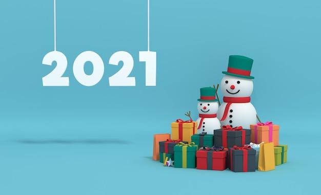 3d-rendering 2021 met geschenkdoos en sneeuwpop.