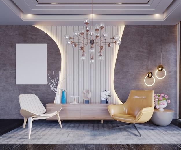 3d-rendering, 3d-afbeelding, interieurscène en mockup, luxe woonkamer met kroonluchter versier de kamer om hem te laten opvallen.