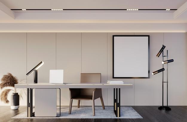 3d-rendering, 3d illustratie, interieur scène en frame mockup, zwarte muur fotolijstjes kantoor tafellamp dom eand houten vloer