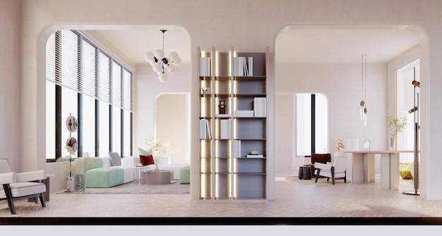 3d-rendering, 3d illustratie, interieurscène en mockup, kantoorhal en moderne woonkamer met witte muren.