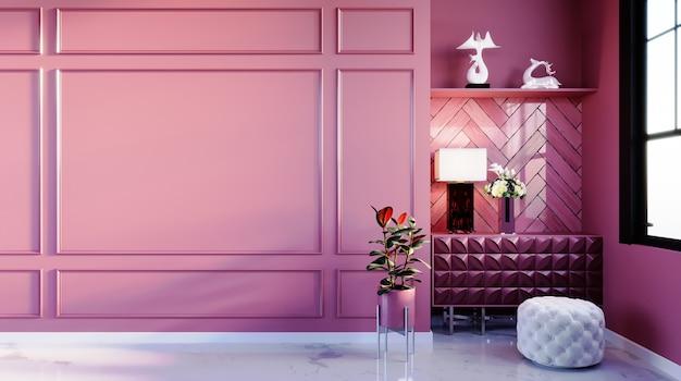 3d-rendering, 3d illustratie, interieurscène en mockup, luxe stijl roze muur met luxe kruk, elegante vloermarmer met tafellamp