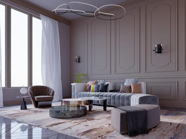 3d-rendering, 3d illustratie, interieurscène en mockup, luxe woonkamer met bruin-paarse muren, grote gebogen bank.