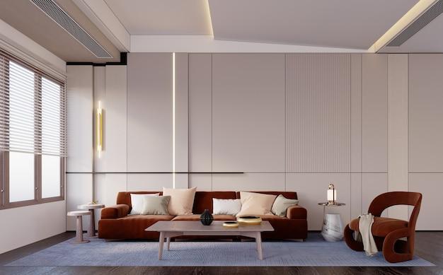 3d-rendering, 3d illustratie, interieurscène en mockup, moderne woonkamer met grijze muren en rood houten meubilair.