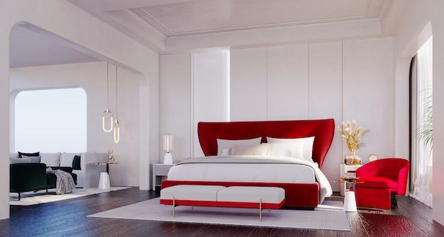3d-rendering, 3d illustratie, interieurscène en mockup, slaapkamer met witte muren en rode meubels.