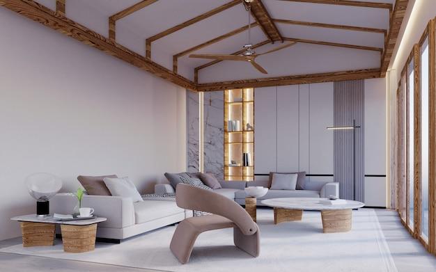3d-rendering, 3d-illustratie, interieurscène en mockup, woonkamer met houten zadeldak, witte muren, ingebouwde planken, witte en bruine meubels.
