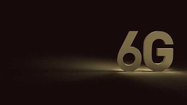 3d-rendering 6g tekst gouden oppervlak gloed in donker beeld voor mobiele technologie-inhoud.