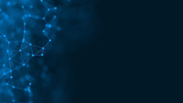 3d-rendering abstract futuristisch met verbindings gloeiende lijnen