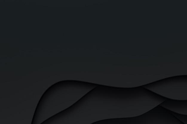 3d-rendering, abstract zwart papier knippen kunst achtergrondontwerp voor website sjabloon of presentatiesjabloon, zwarte achtergrond