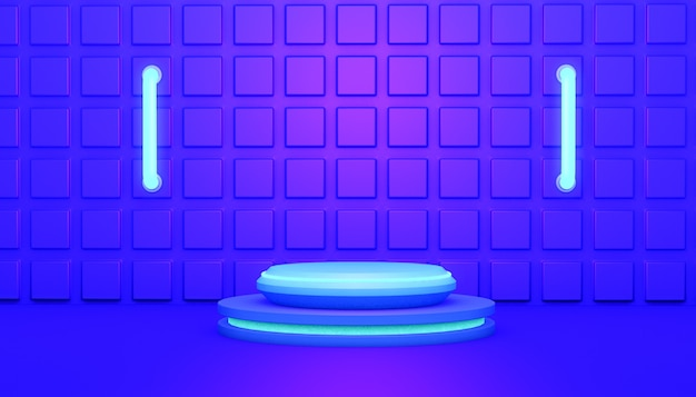 3d-rendering abstracte achtergrond met het podium gloeiend blauw