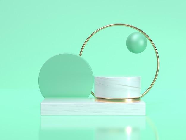 3d-rendering abstracte geometrische vorm stilleven set groen wit scène gouden cirkelframe