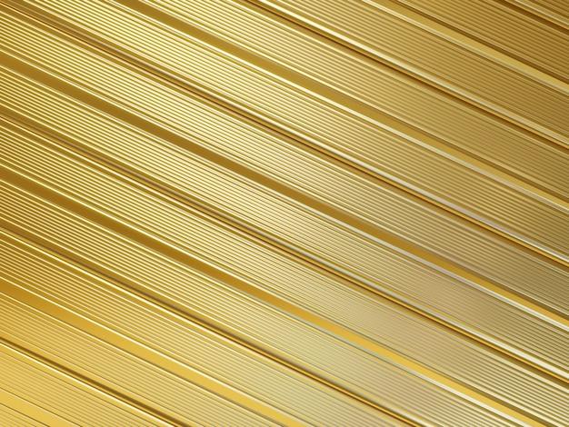 3d-rendering abstracte gestripte metalen gouden achtergrond Premium Foto