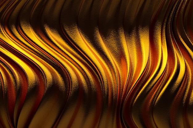 3d-rendering, abstracte gouden achtergrond luxe doek of vloeibare golf of golvende plooien van grunge zijde textuur satijn fluweel materiaal of luxe achtergrond of elegant behangontwerp, gouden achtergrond