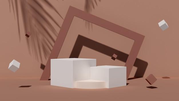 3d-rendering abstracte illustratie mock up abstract geometrische vorm podium voor productontwerp tropische sfeer product display