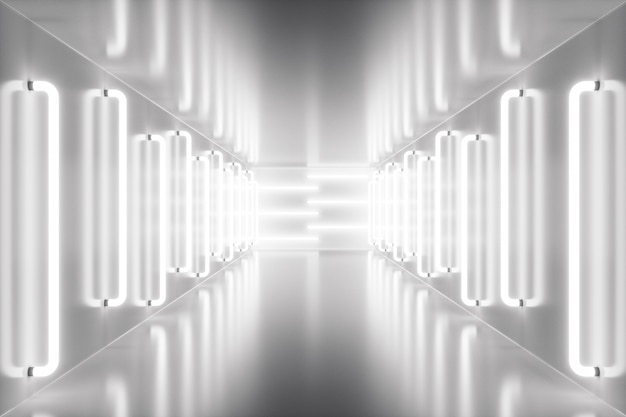 3d-rendering abstracte kamer interieur met neonlichten. futuristische architectuurachtergrond. mock-up voor uw ontwerpproject